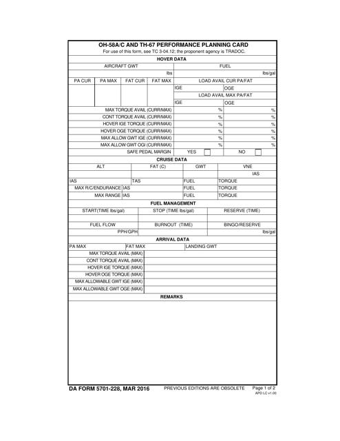DA Form 5701-228 Fillable Pdf