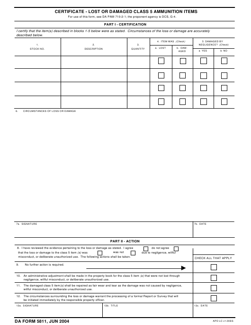 DA Form 5811 Fillable Pdf