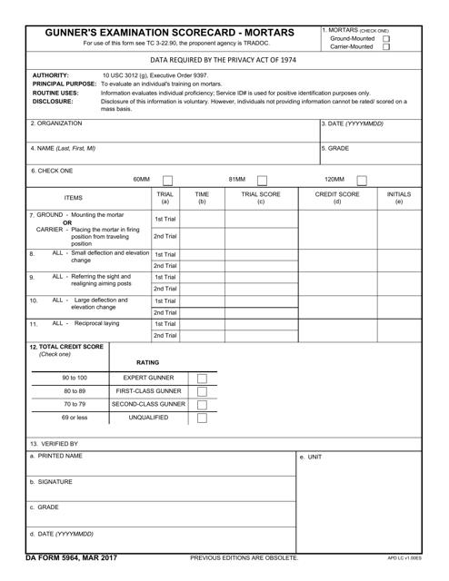 DA Form 5964  Printable Pdf