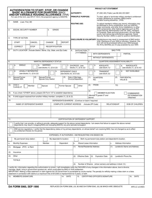 DA Form 5960  Printable Pdf