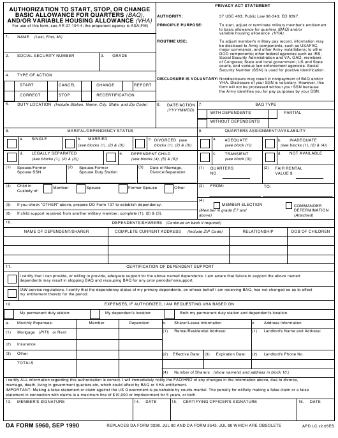 DA Form 5960 Fillable Pdf