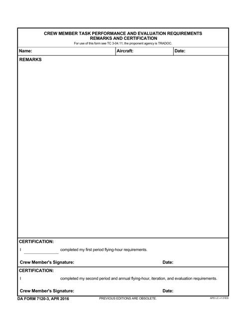 DA Form 7120-3 Fillable Pdf