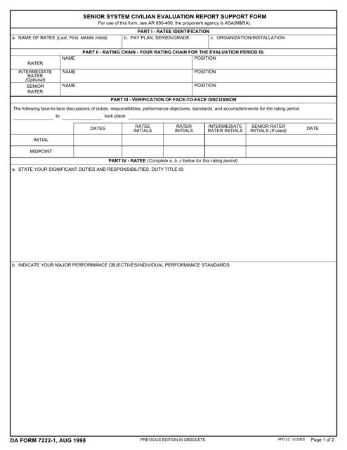 DA Form 7222-1  Printable Pdf
