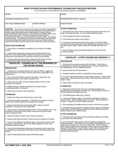 DA Form 7223-1  Printable Pdf