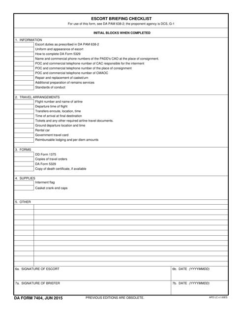 DA Form 7404 Printable Pdf