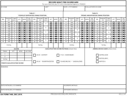 DA Form 7489 Fillable Pdf