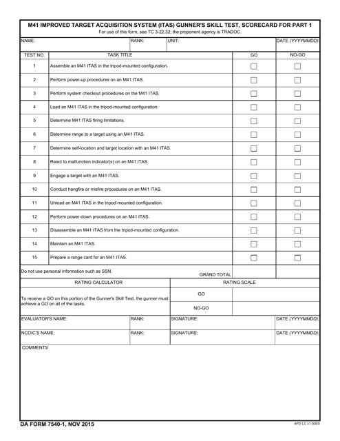 DA Form 7540-1  Printable Pdf