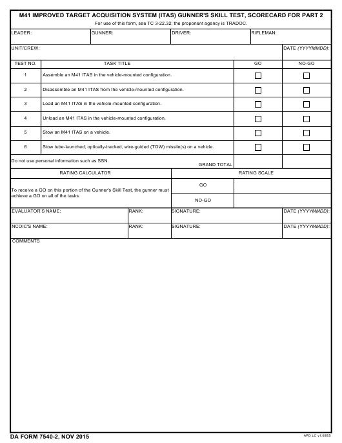DA Form 7540-2  Printable Pdf