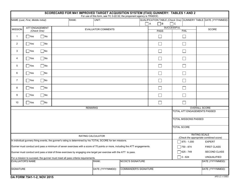 DA Form 7541-1-2 Fillable Pdf
