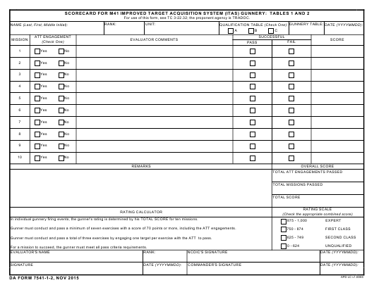DA Form 7541-1-2 Fillable Pdf