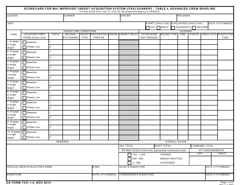 DA Form 7541-1-4  Printable Pdf