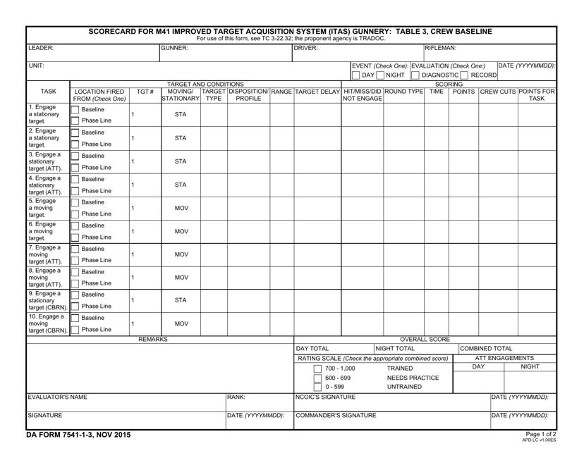 DA Form 7541-1-3 Fillable Pdf