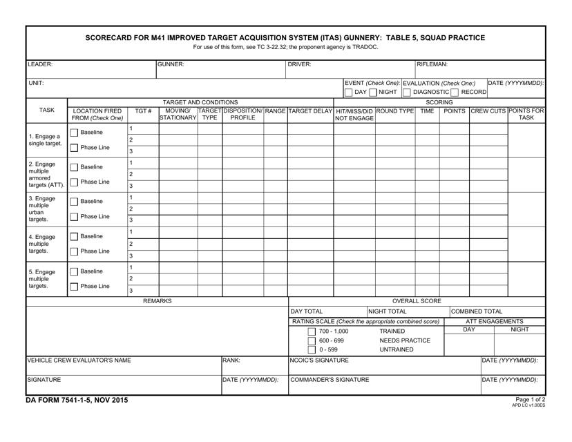 DA Form 7541-1-5  Printable Pdf