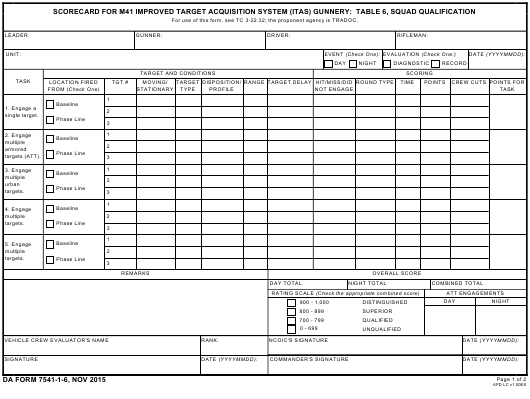 DA Form 7541-1-6 Fillable Pdf