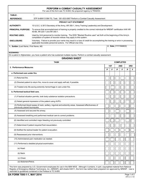 DA Form 7595-1-1 Printable Pdf