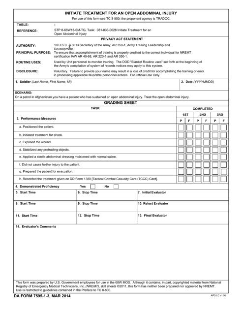 DA Form 7595-1-3  Printable Pdf