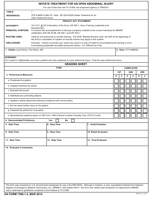 DA Form 7595-1-3 Fillable Pdf