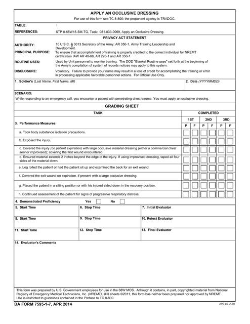 DA Form 7595-1-7 Fillable Pdf