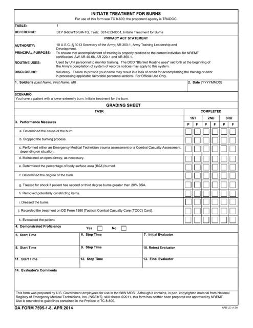 DA Form 7595-1-8  Printable Pdf