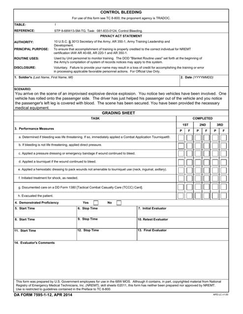 DA Form 7595-1-12  Printable Pdf