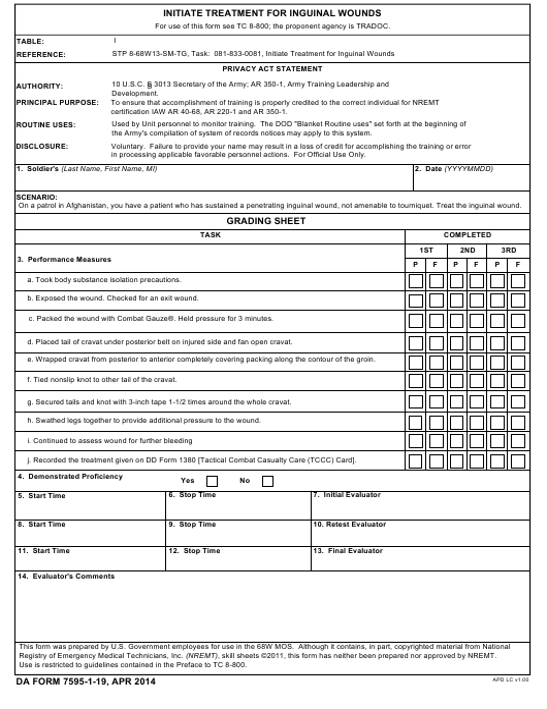 DA Form 7595-1-19 Fillable Pdf
