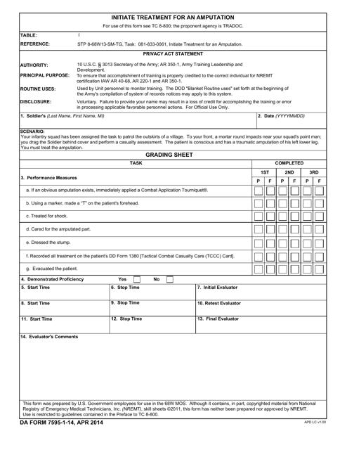 DA Form 7595-1-14  Printable Pdf
