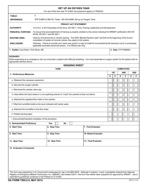DA Form 7595-2-5  Printable Pdf