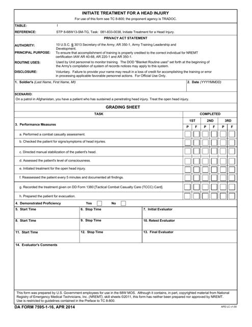 DA Form 7595-1-16  Printable Pdf