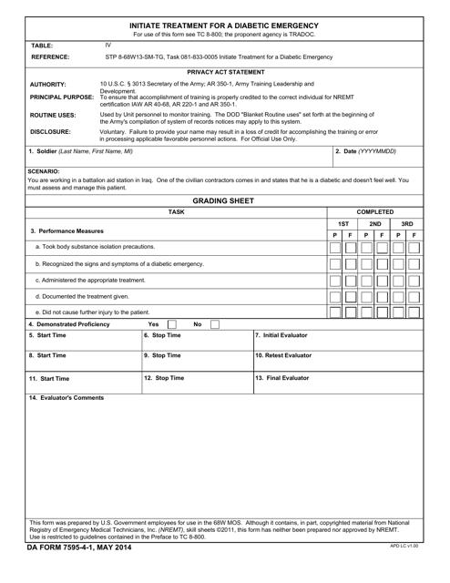 DA Form 7595-4-1  Printable Pdf