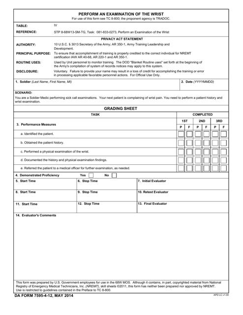 DA Form 7595-4-12  Printable Pdf