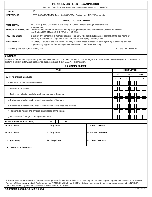 DA Form 7595-4-15  Printable Pdf
