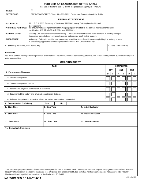 DA Form 7595-4-14  Printable Pdf