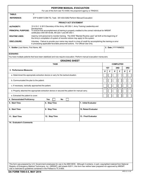 DA Form 7595-5-5 Fillable Pdf