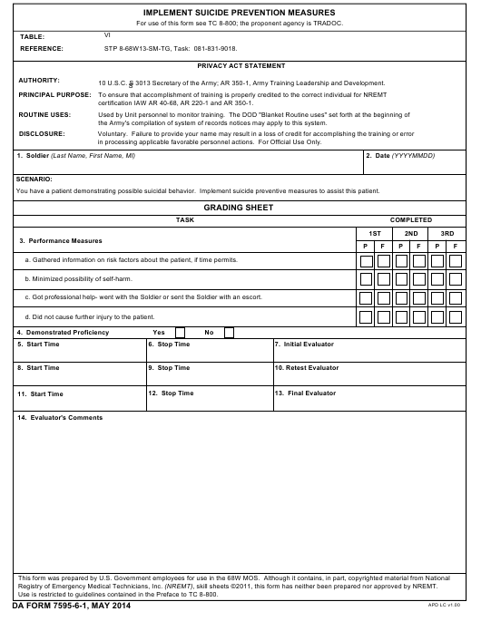 DA Form 7595-6-1 Fillable Pdf