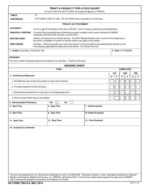 DA Form 7595-6-4 Fillable Pdf