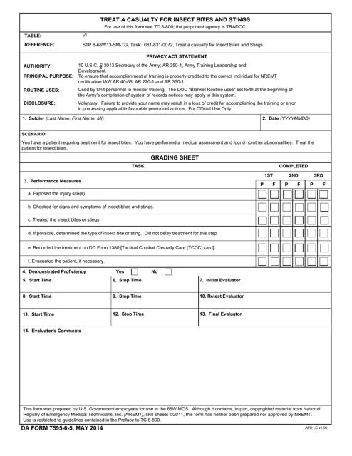 DA Form 7595-6-5 Printable Pdf