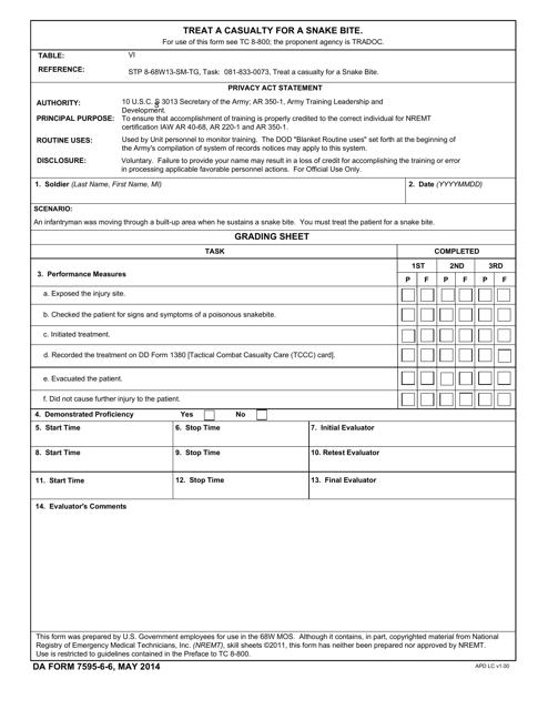 DA Form 7595-6-6 Printable Pdf