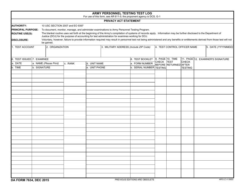 DA Form 7634  Printable Pdf