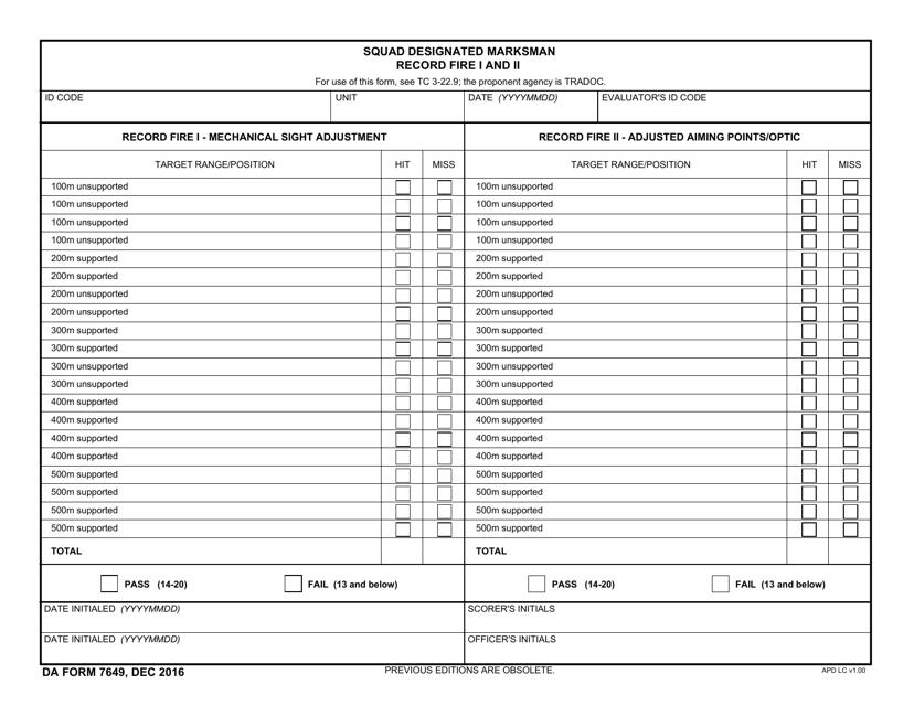 DA Form 7649  Fillable Pdf