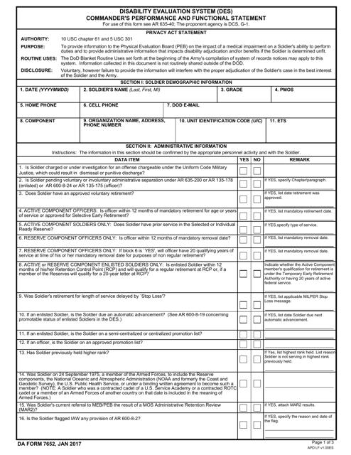 DA Form 7652  Fillable Pdf