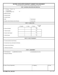 DA Form 7744 Materiel Developer S Warranty Summary and Assessment