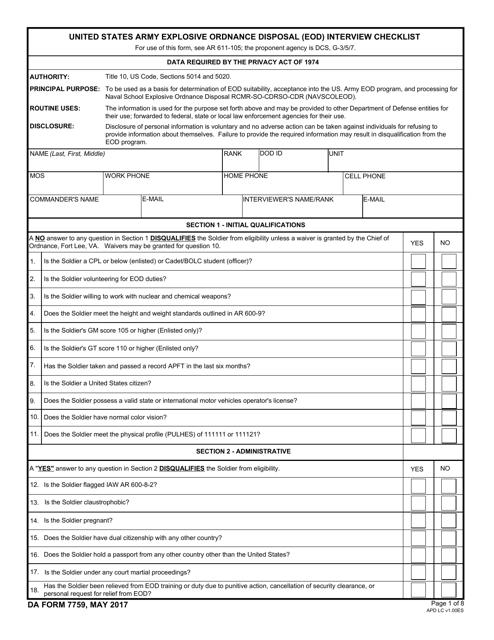 DA Form 7759 Fillable Pdf