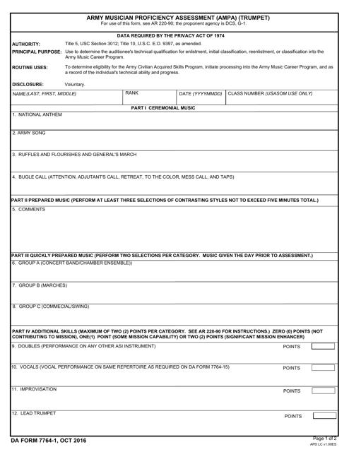 DA Form 7764-1  Printable Pdf