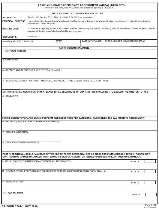 DA Form 7764-1  Fillable Pdf
