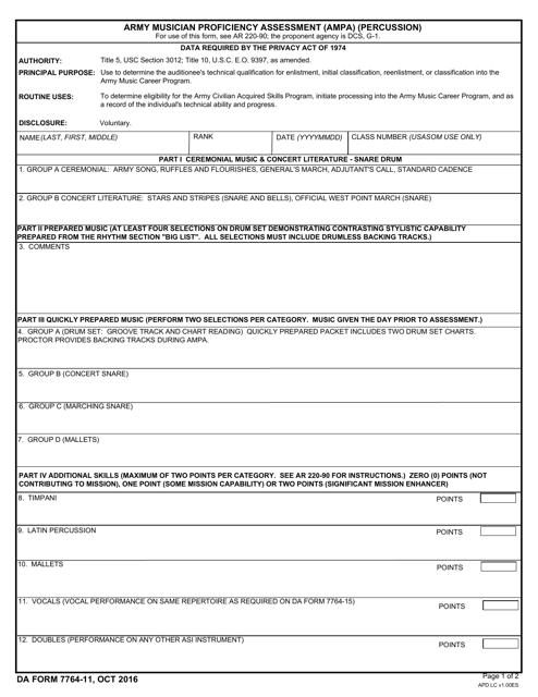 DA Form 7764-11 Fillable Pdf