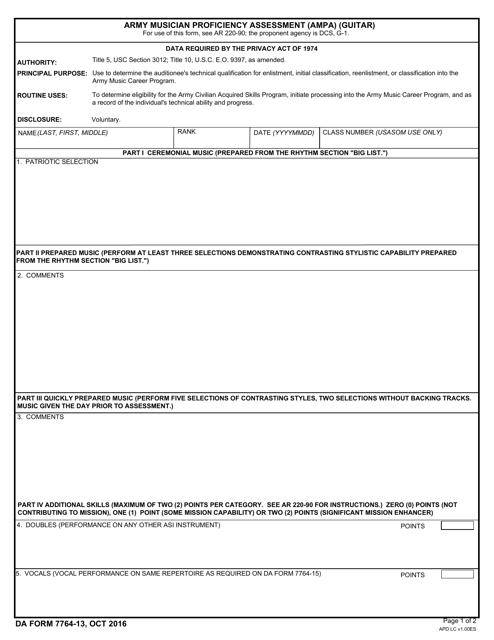 DA Form 7764-13  Fillable Pdf