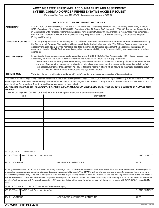 DA Form 7765  Fillable Pdf