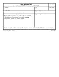 DA Form 7784 Tadss Cerification Card
