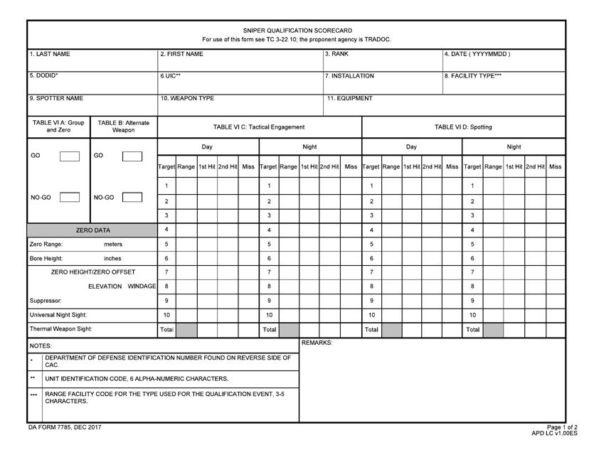 DA Form 7785  Printable Pdf