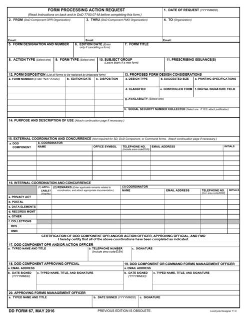 DD Form 67  Printable Pdf